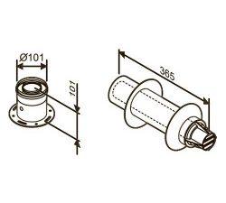 Коаксиальный горизонтальный дымоход с адаптером подключения к котлу, Ø60/100 AZ 395 (отвод 90° не входит в комплект)