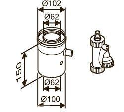 Отвод для конденсата коаксиальный вертикальный, Ø60/100 AZ 402